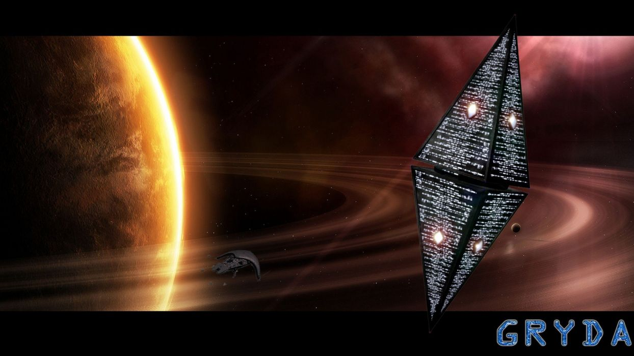 science outer space fiction station ships spaceships digital art science fiction pyramids photo manipulation 3DS Max  Gryda wallpaper