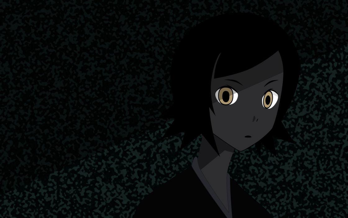 Sayonara Zetsubou Sensei black dark short hair yellow eyes anime girls faces black hair Hitou Nami wallpaper
