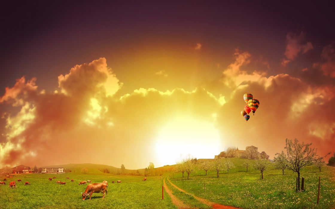 clouds landscapes nature balloons photo manipulation wallpaper
