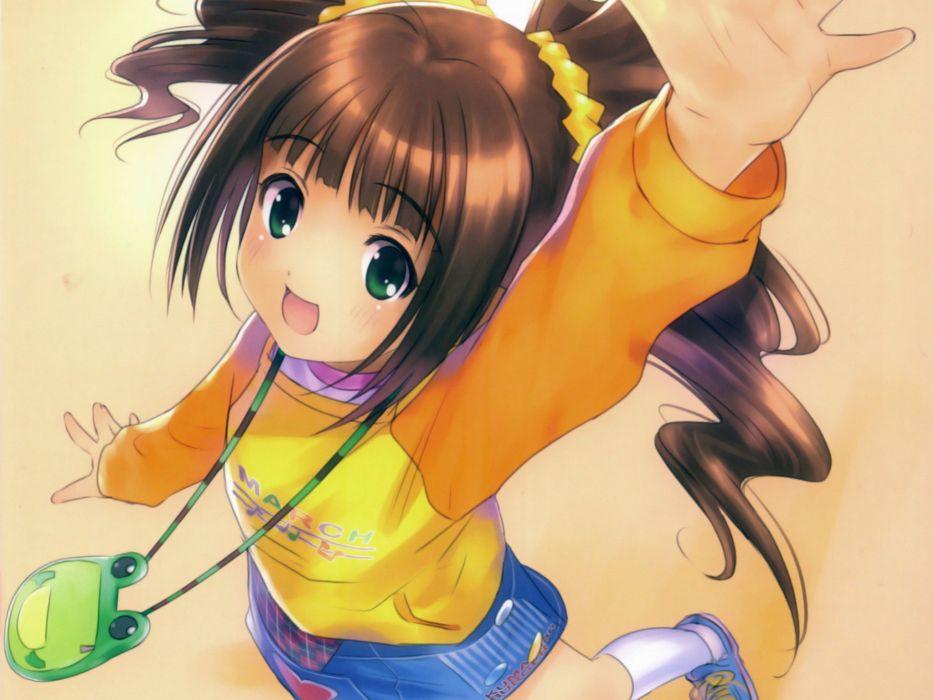 brunettes green eyes anime anime girls Takatsuki Yayoi Idolmaster wallpaper