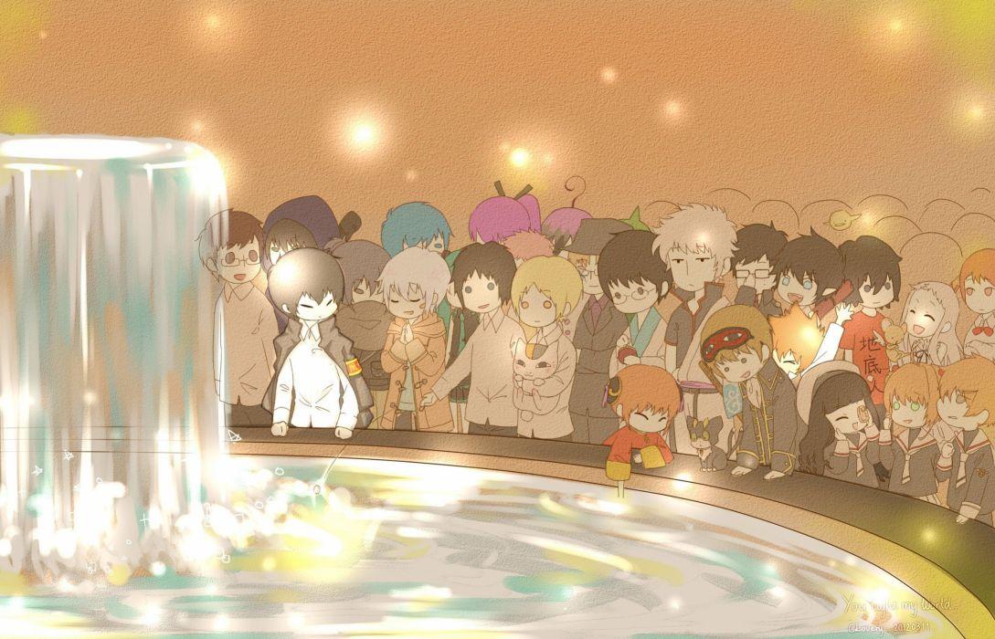 cross Hibari Kyoya Kagura Sawada Tsunayoshi Sakata Gintoki anime Okumura Rin Okumura Yukio Amaimon fountain Okita Sougo wallpaper