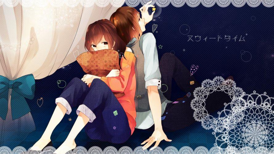 stars brown eyes short hair blush anime boys anime girls original characters Momoiro Oji wallpaper