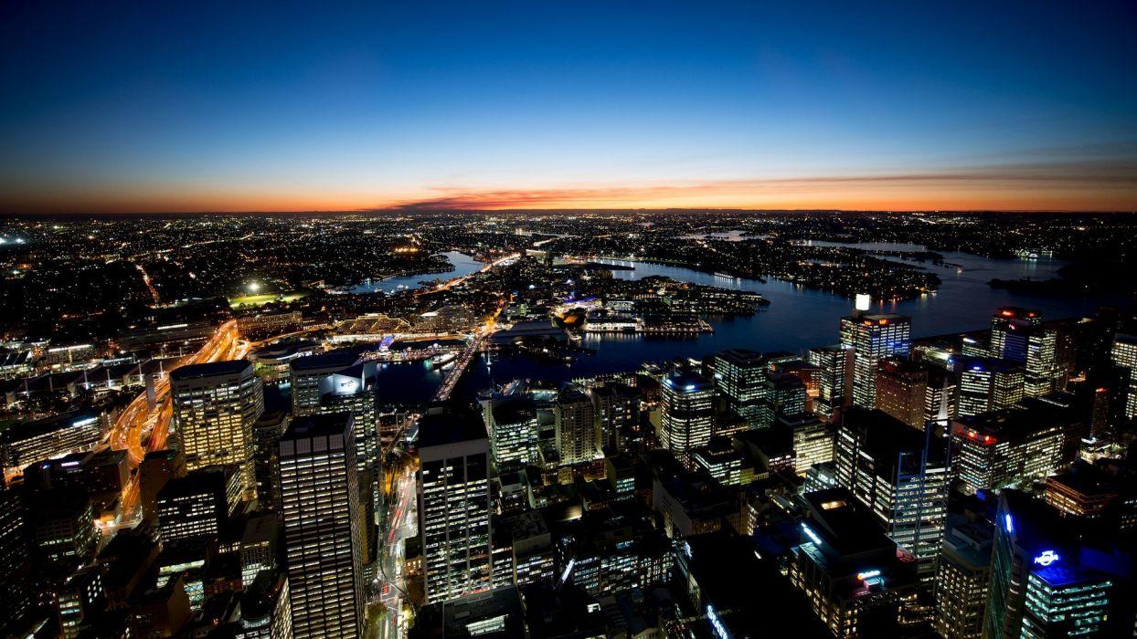 cityscapes night buildings Sydney Australia wallpaper
