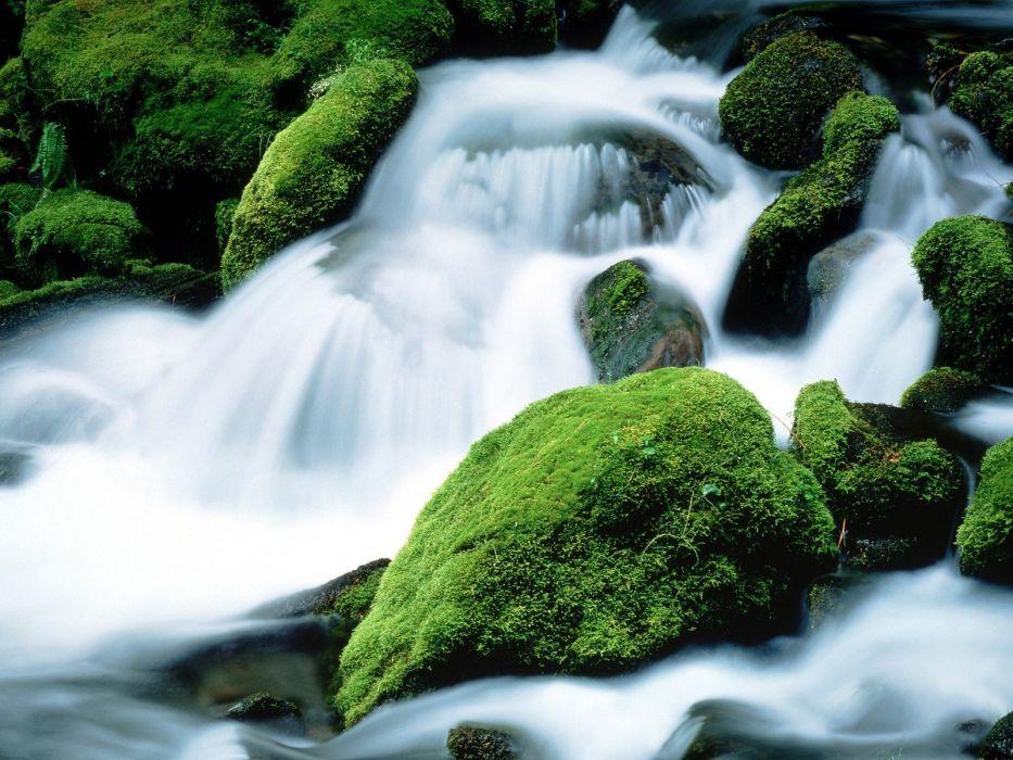 rocks moss Oregon Mount Jefferson waterfalls wallpaper