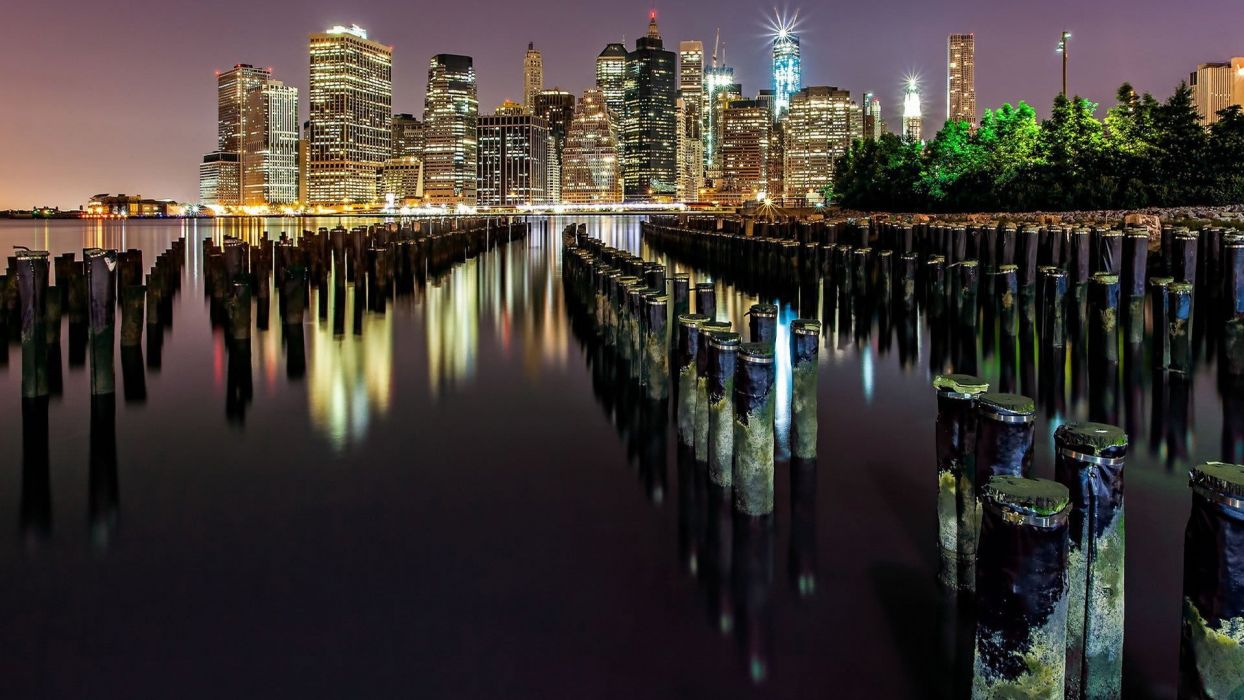 water landscapes dock skyscrapers city lights reflections cities sea skyline wallpaper