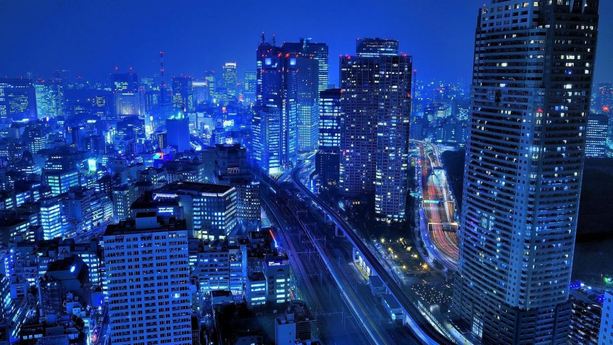 light Japan blue Tokyo cityscapes night buildings roads wallpaper