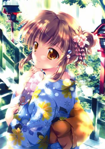 kimono yukata anime girls Mikeou scans original characters wallpaper