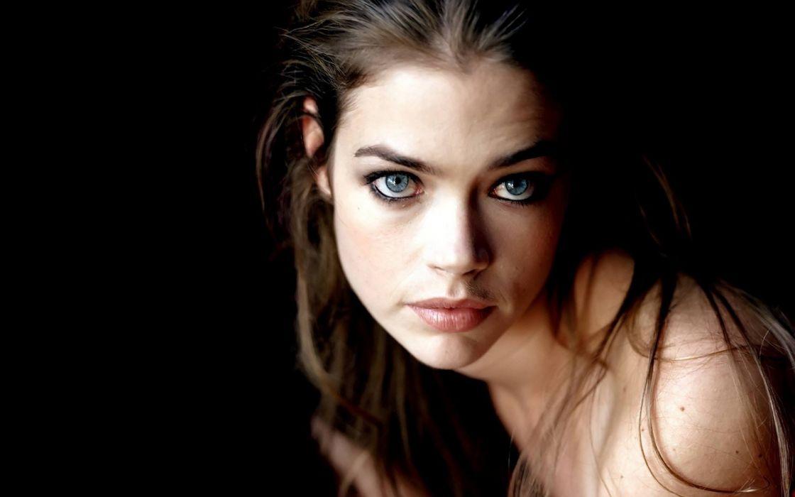 brunettes women blue eyes Denise Richards faces wallpaper