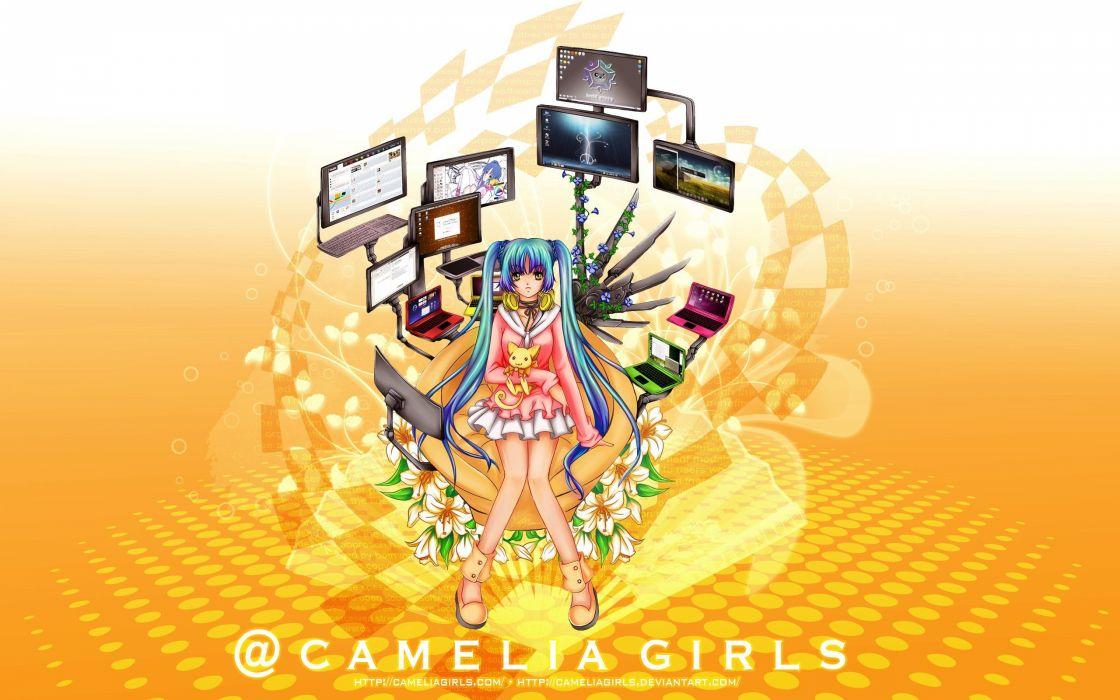 headphones computers flowers twintails anime girls wallpaper