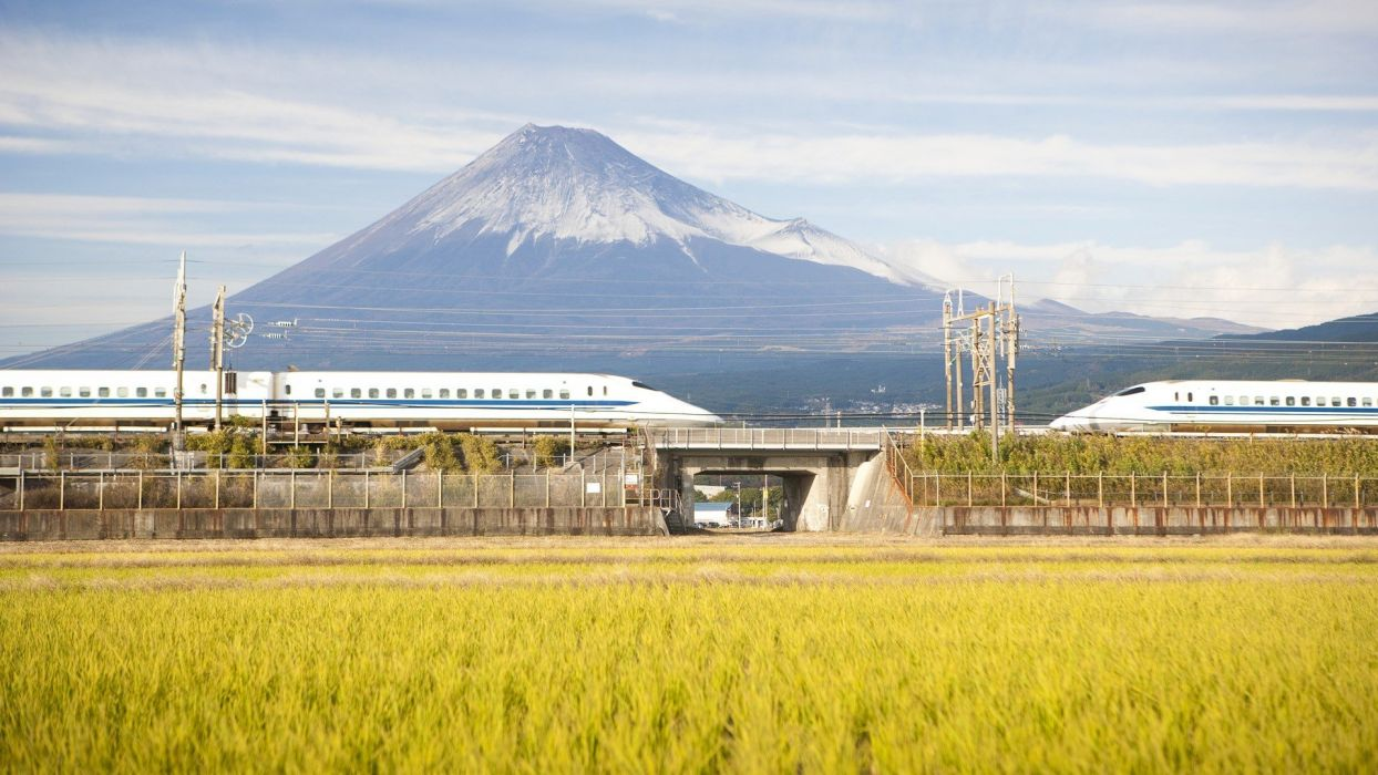 Japan Mount Fuji trains Shinkansen wallpaper
