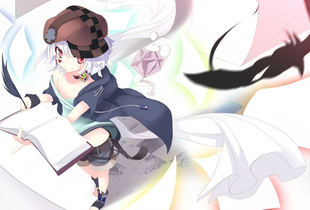 feathers books red eyes short hair white hair hats anime girls original characters wallpaper