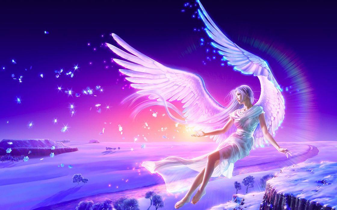 angels wings purple hair wallpaper
