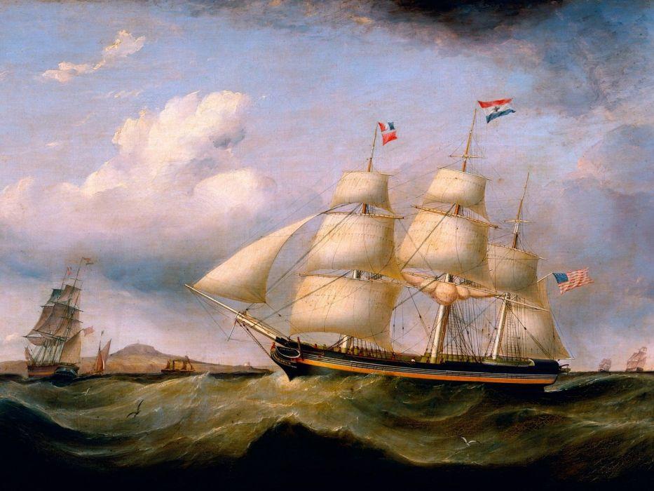 artwork sail ship wallpaper