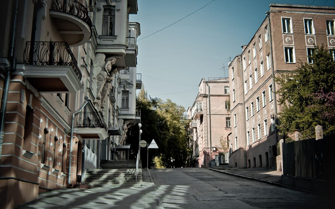 landscapes trees cityscapes streets buildings skyscapes Kharkov wallpaper