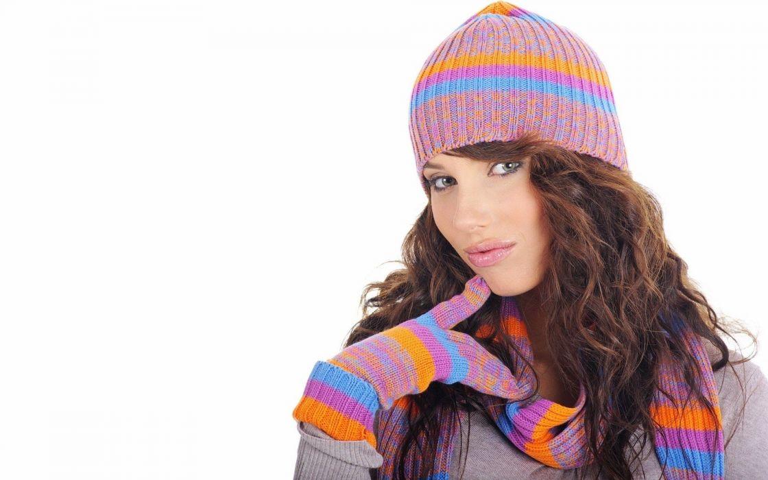 brunettes women gloves hats faces wallpaper