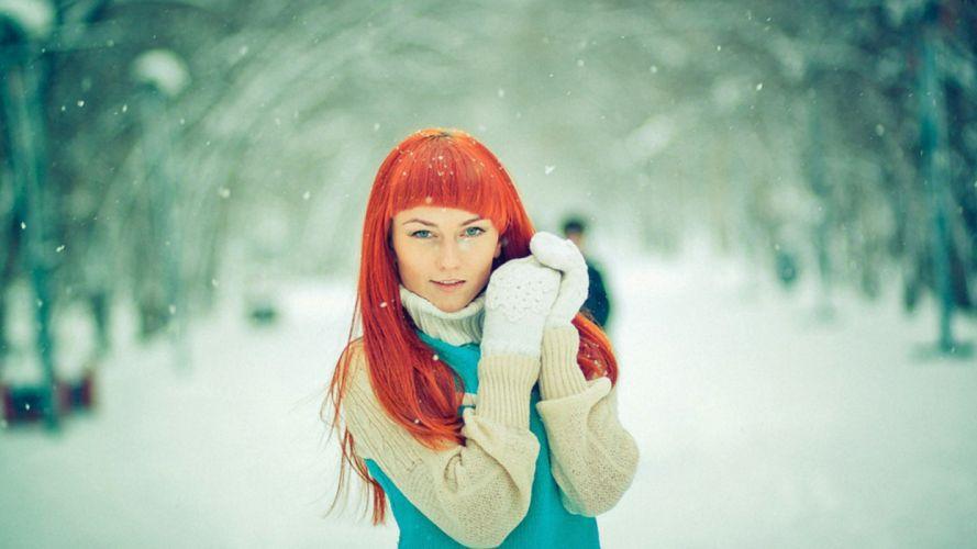 women winter snow gloves redheads models outdoors wallpaper