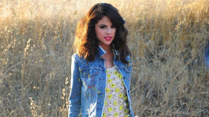 brunettes women Selena Gomez outdoors celebrity jackets denim clothing wallpaper