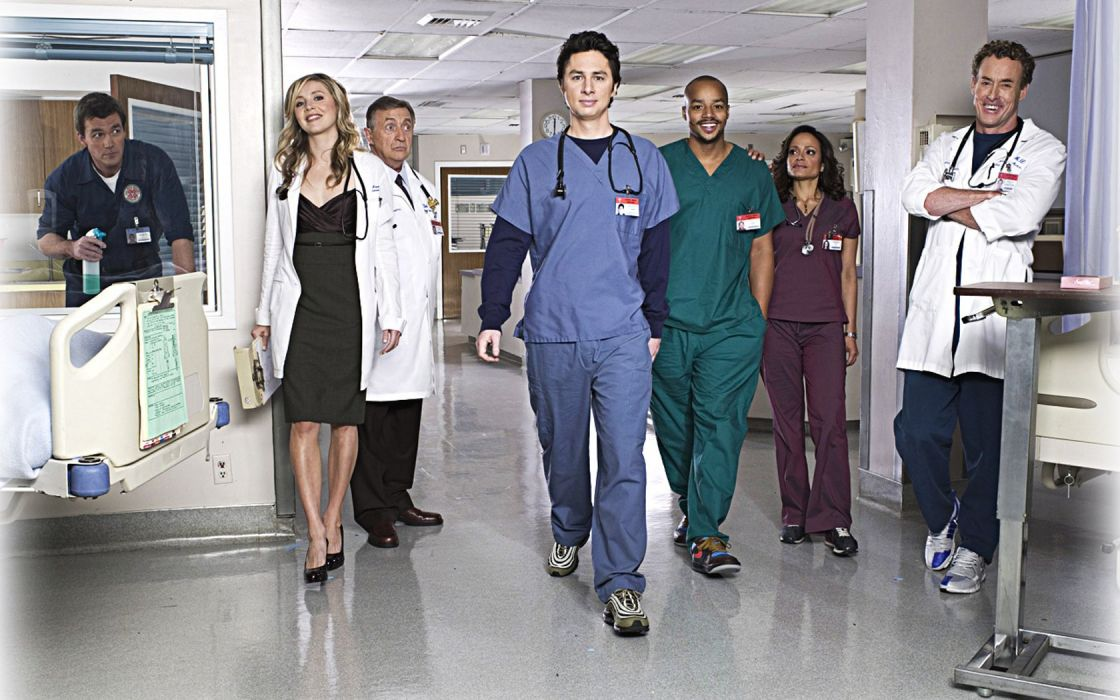Scrubs Sarah Chalke Zach Braff Donald Faison Neil Flynn Ken Jenkins John C_ McGinley Judy Reyes stethoscopes wallpaper
