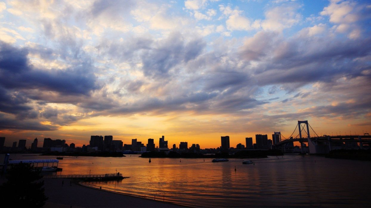sunset Japan clouds Tokyo cityscapes cities wallpaper