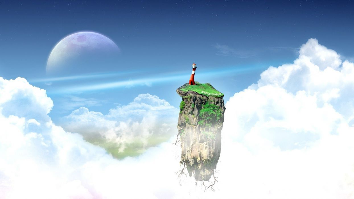 clouds lighthouses skyscapes skies wallpaper