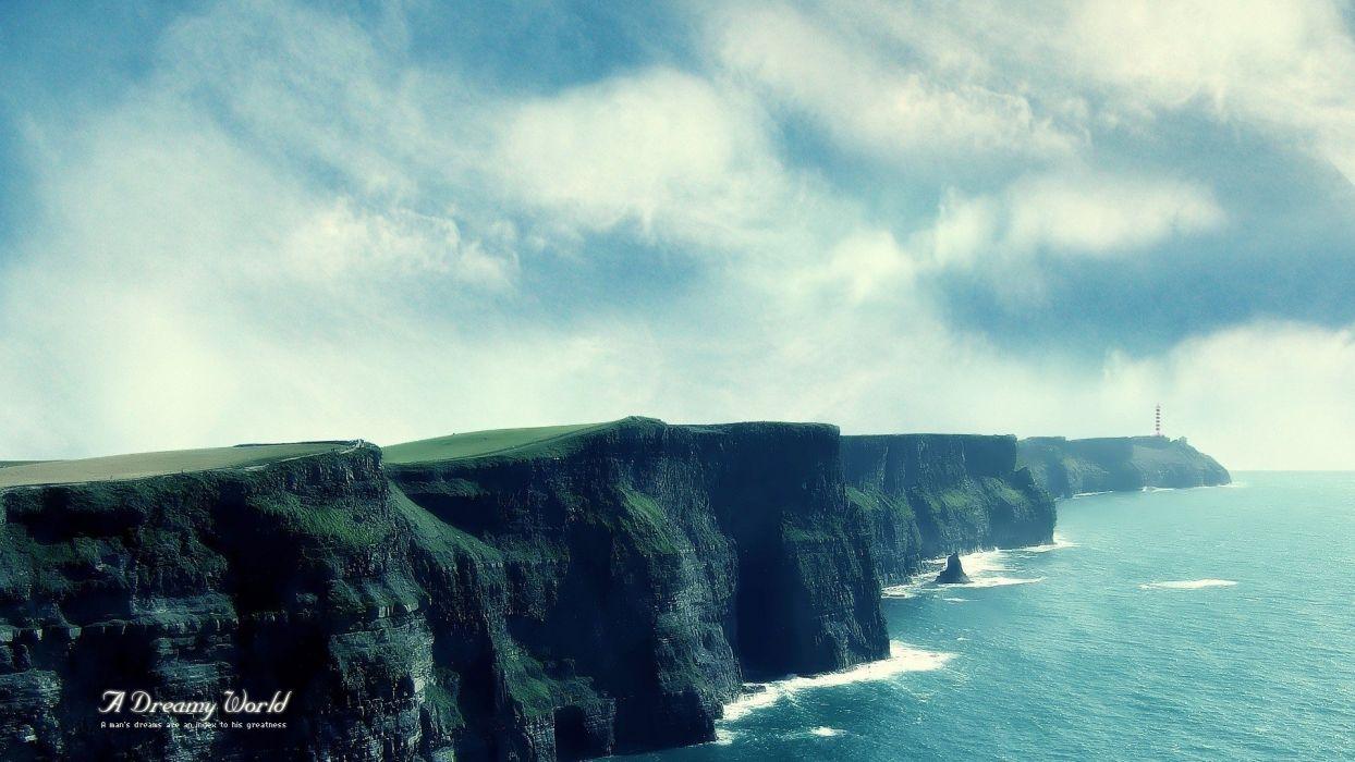 clouds landscapes nature cliffs skyscapes sea wallpaper
