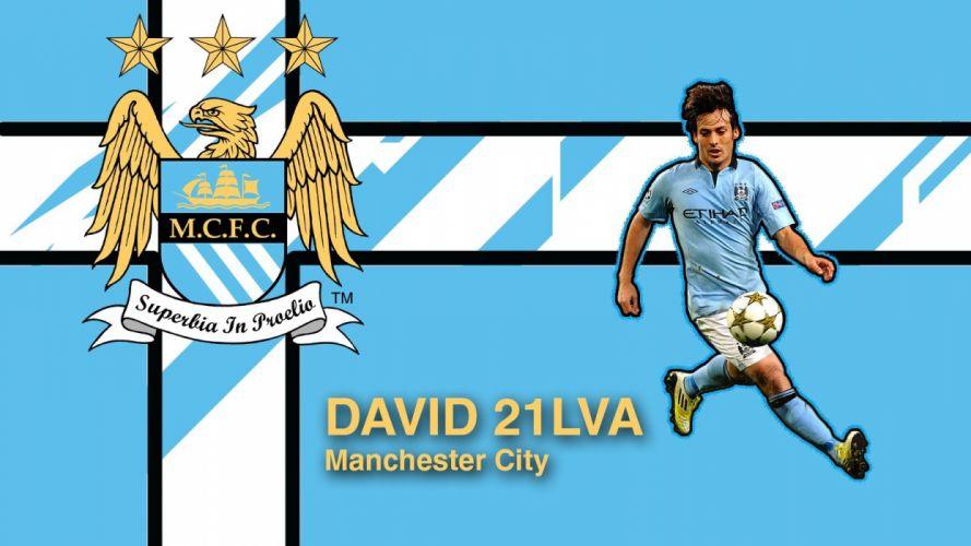 blue Manchester City premier league David Silva football player wallpaper