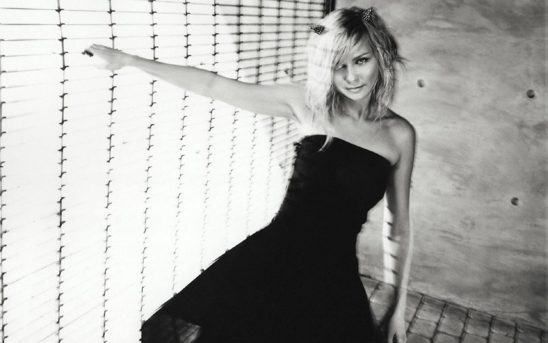 women Kirsten Dunst monochrome wallpaper