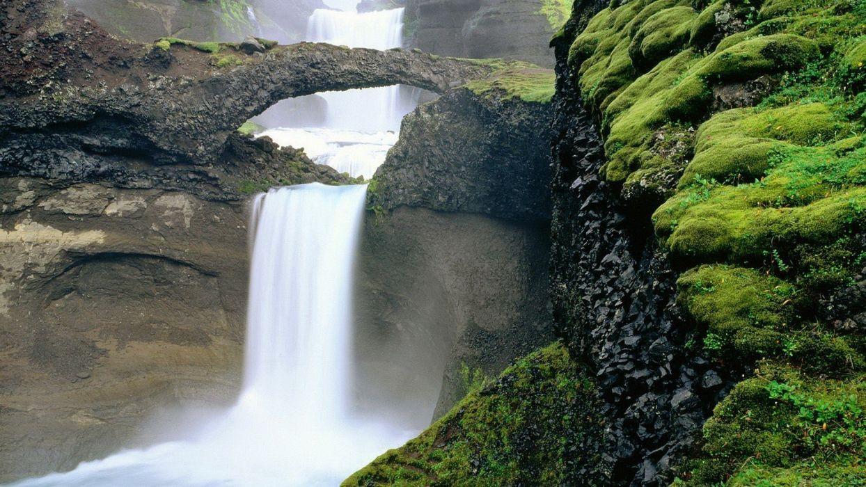 landscapes Iceland moss waterfalls wallpaper