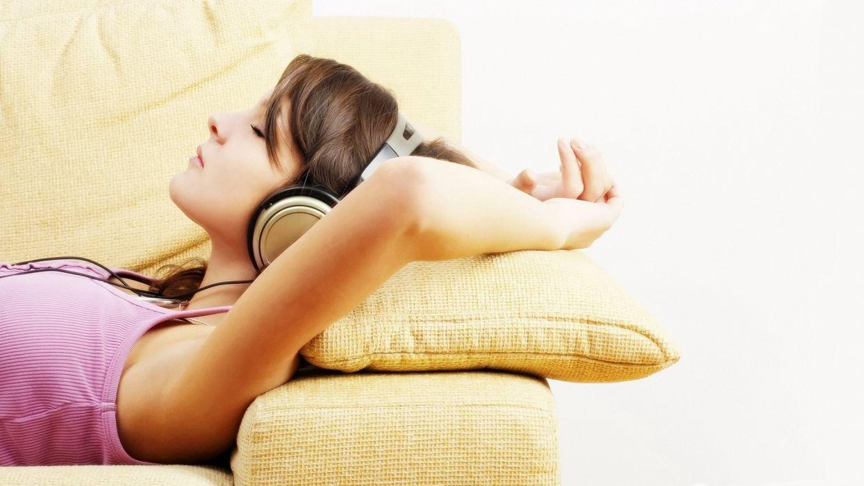 headphones brunettes women lying down wallpaper