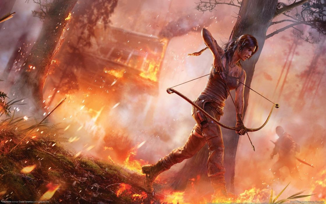 Blood Fire Tomb Raider Lara Croft Bows Arrows Wallpaper