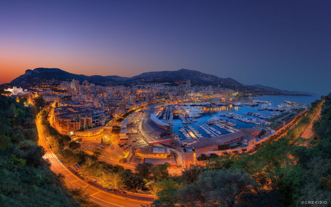 sunset landscapes nature coast cityscapes lights hills Monaco roads HDR photography evening Grand Prix wallpaper