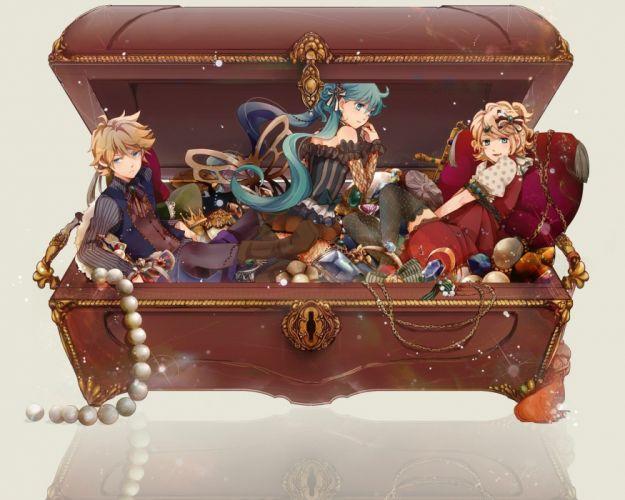 Vocaloid Hatsune Miku Kagamine Rin Kagamine Len thigh highs treasure wallpaper
