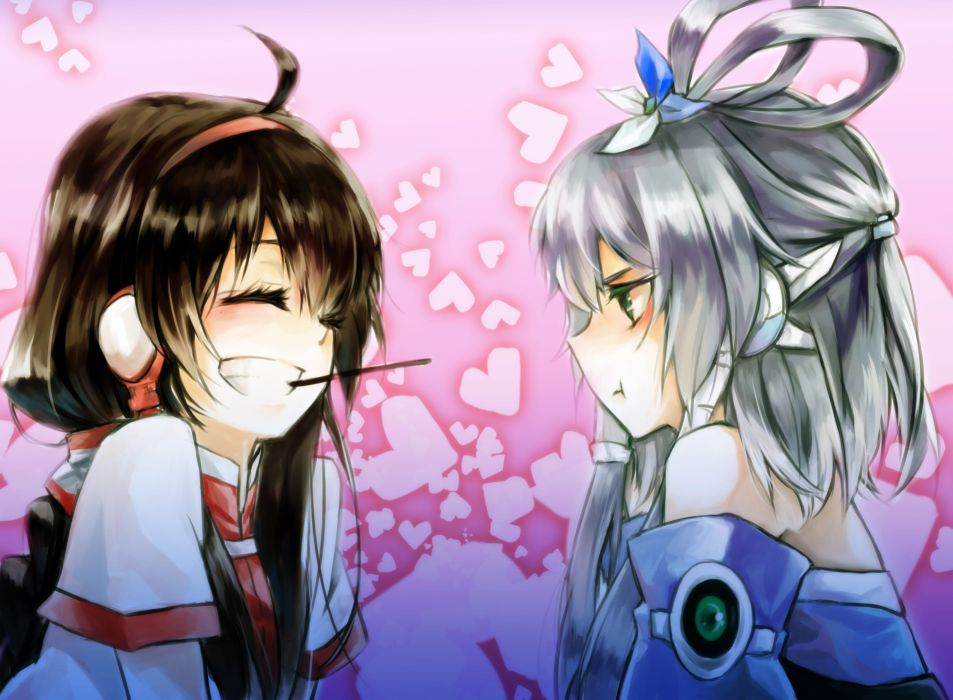 headphones brunettes Vocaloid long hair green eyes Pocky closed eyes ahoge gray hair anime girls hair band hair ornaments Luo Tianyi Yuezheng Ling pouting wallpaper