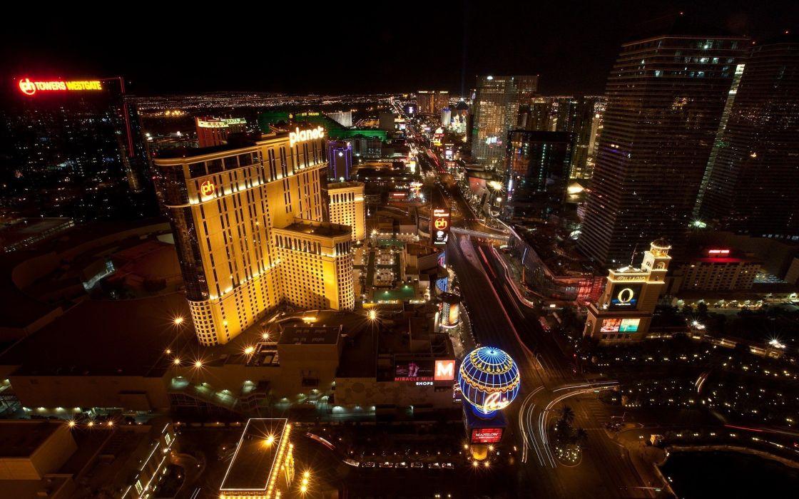 cityscapes night lights Las Vegas buildings cities wallpaper