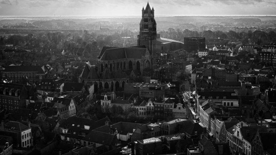 black and white churches cities wallpaper