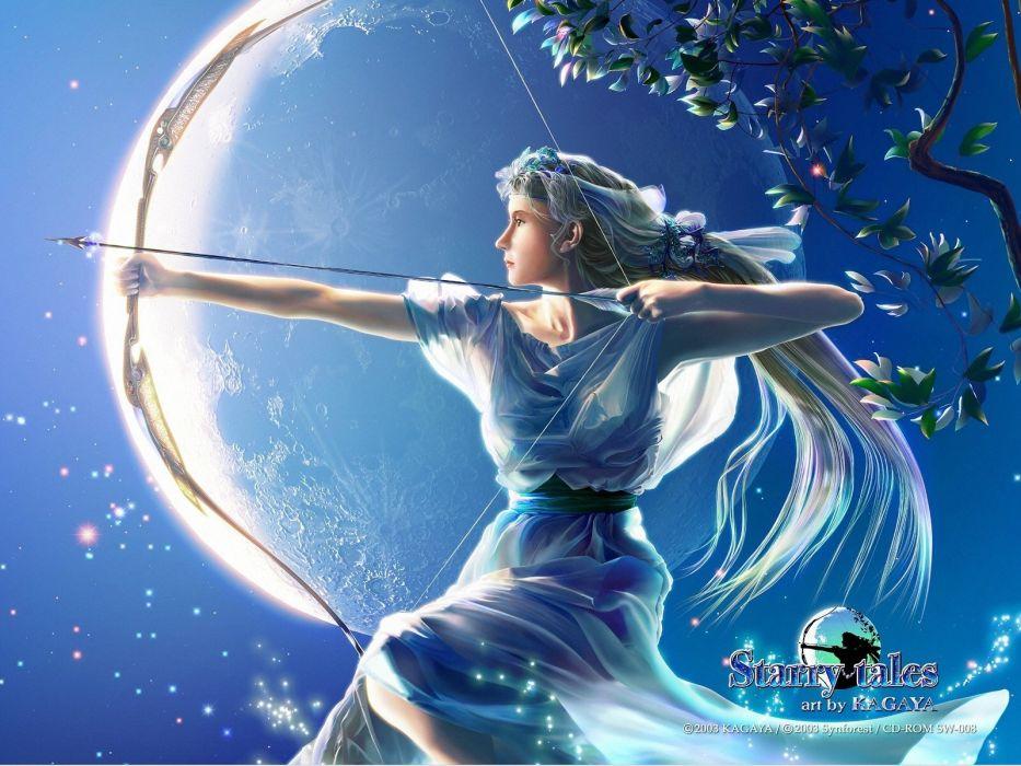 fantasy art Goddess Kagaya Yutaka mythology Artemis wallpaper