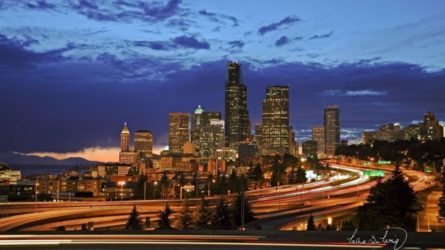 cityscapes lights Seattle skyscrapers city lights city night wallpaper