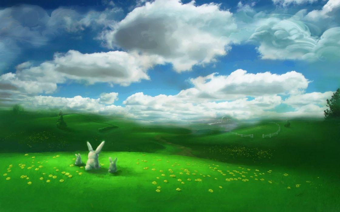 bunnies landscapes fields artwork wallpaper