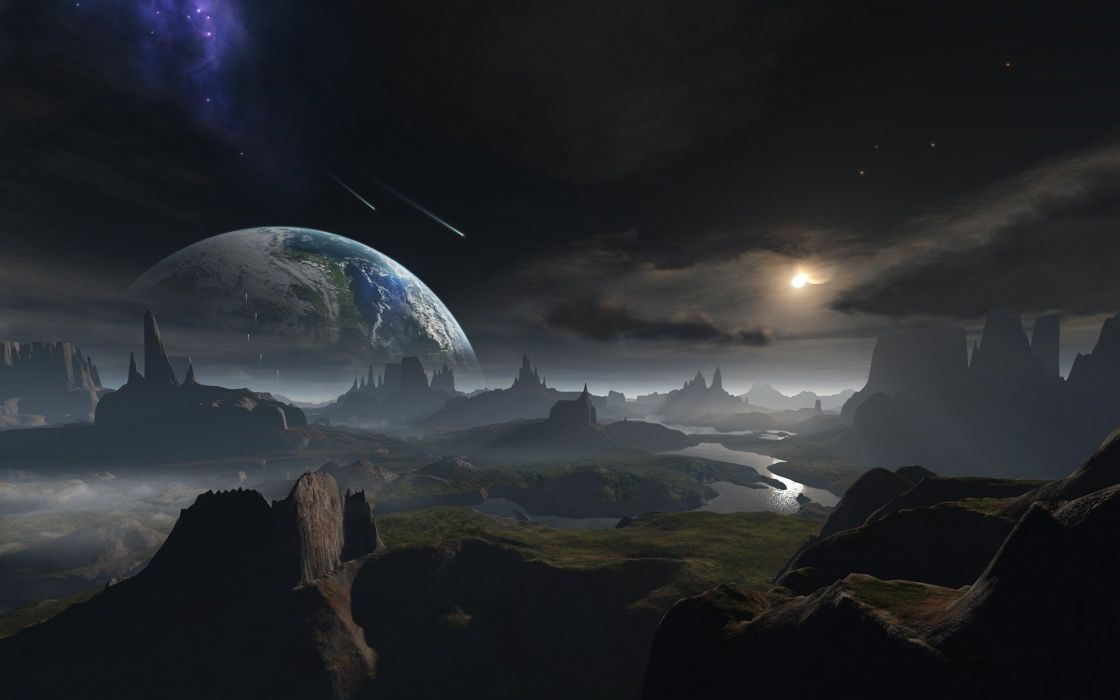outer space planets Earth fantasy art science fiction wallpaper