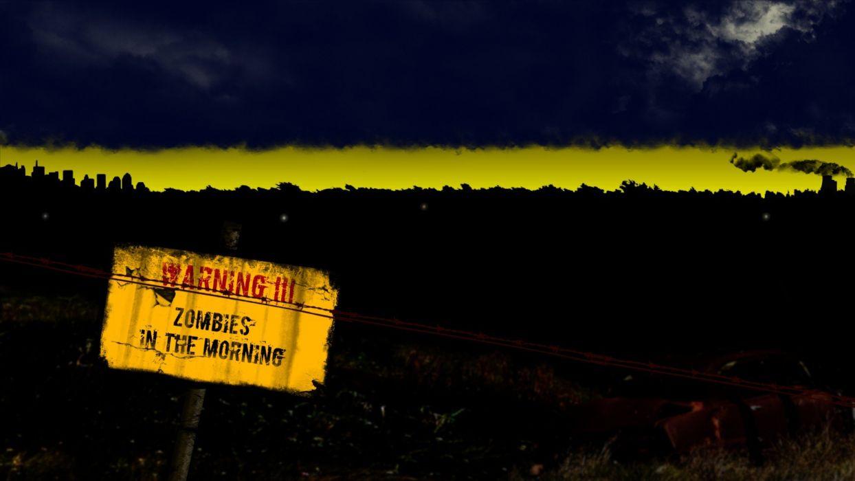 sunrise zombies morning sign skyline wallpaper