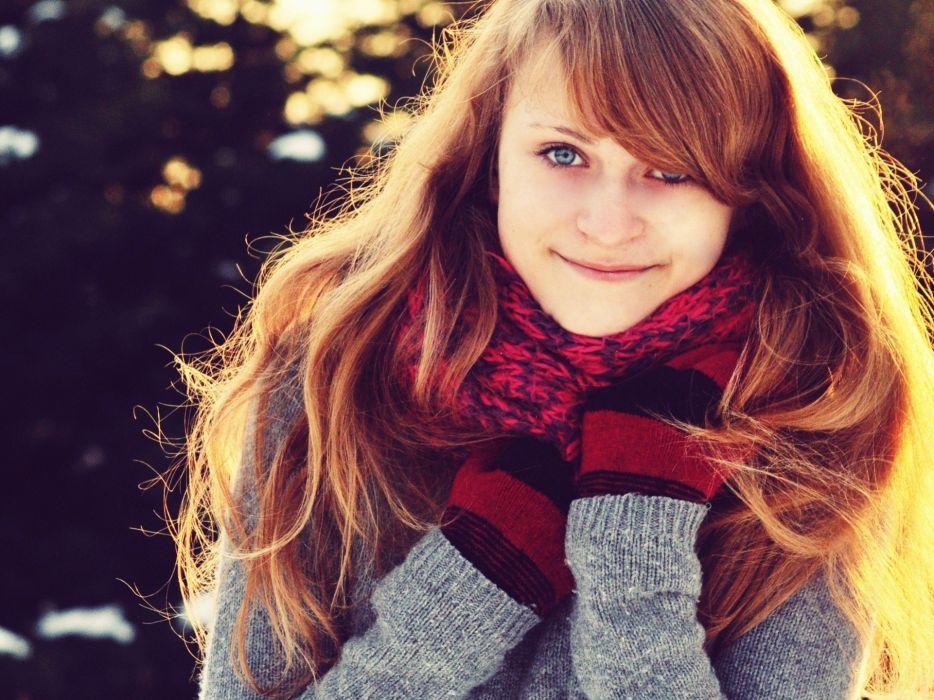 brunettes women smiling scarfs sweaters wallpaper