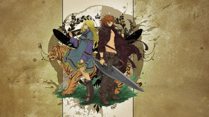 blondes women fantasy cats animals tigers weapons artwork The Last Story swords loofisto wallpaper