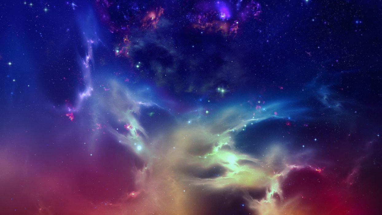 outer space stars nebulae digital art artwork wallpaper