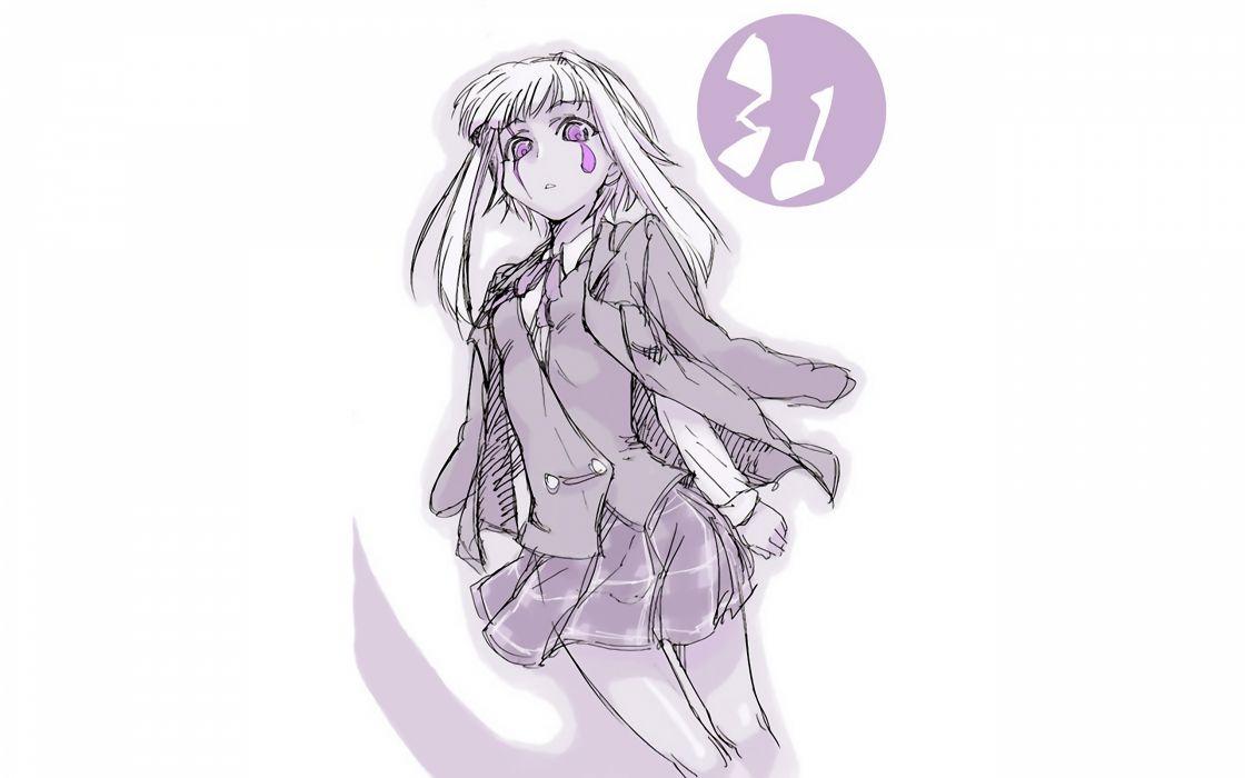 Mahou Sensei Negima school uniforms simple background Zazie Rainyday wallpaper
