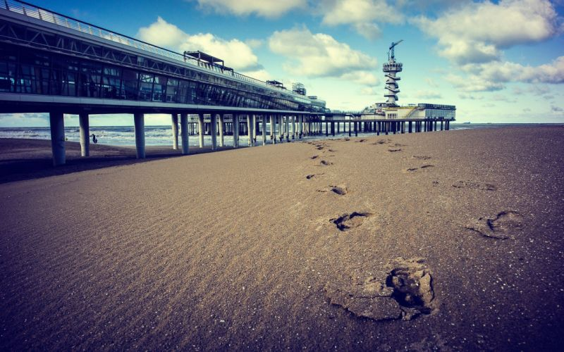 ocean clouds footsteps beaches wallpaper