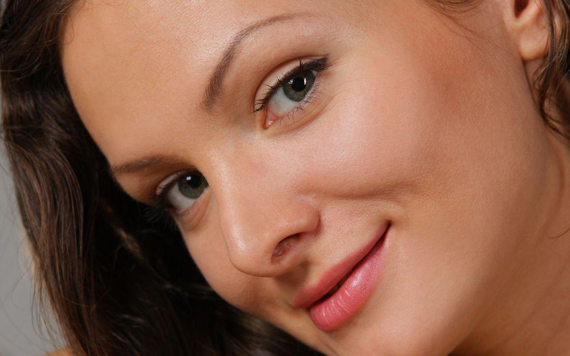 brunettes women models faces Johanna D wallpaper