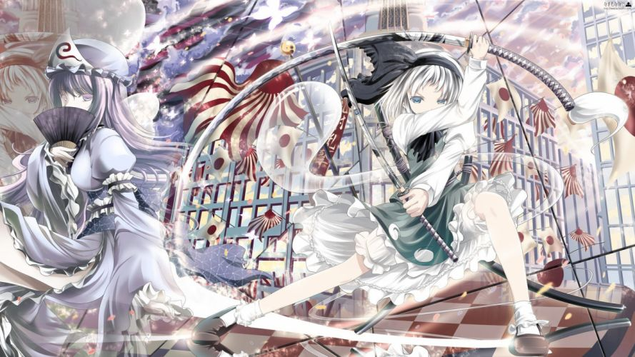 women video games clouds Touhou dress blue eyes katana long hair weapons socks buildings flags ghosts Konpaku Youmu purple hair short hair checkered white hair purple eyes action Saigyouji Yuyuko blue dress Myon skyscapes reflections Japanese clothes gre wallpaper