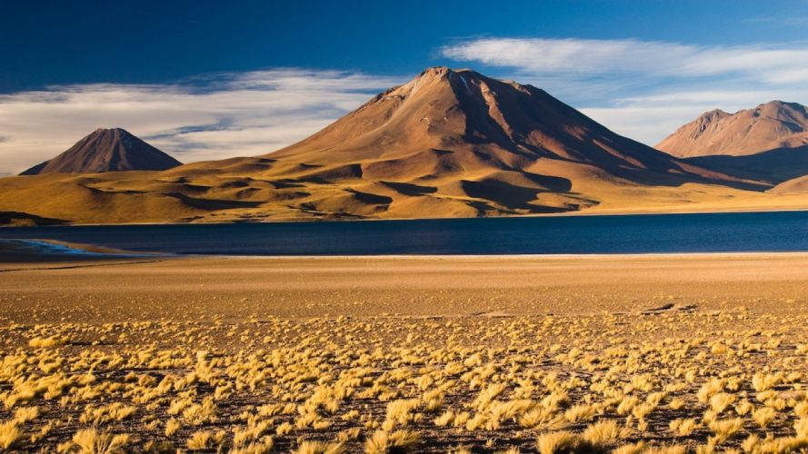 water Chile blue mountains clouds landscapes nature white volcanoes brown lakes beige Steppe Andes morning view Atacama Desert wallpaper