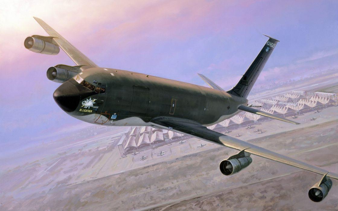 paintings aircraft KC-135 Stratotanker wallpaper