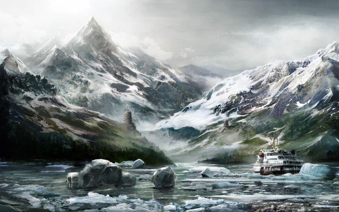 water mountains winter snow ships icebergs artwork wallpaper
